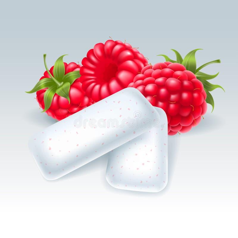 Kauwgom met frambozenaroma stock illustratie