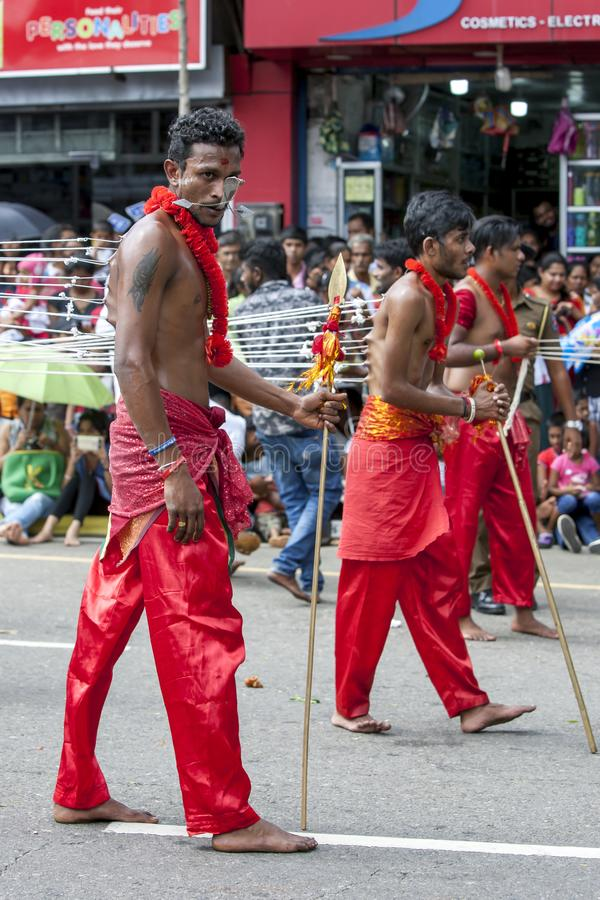 Kavadi Dancers perform at Kandy in Sri Lanka. stock photography