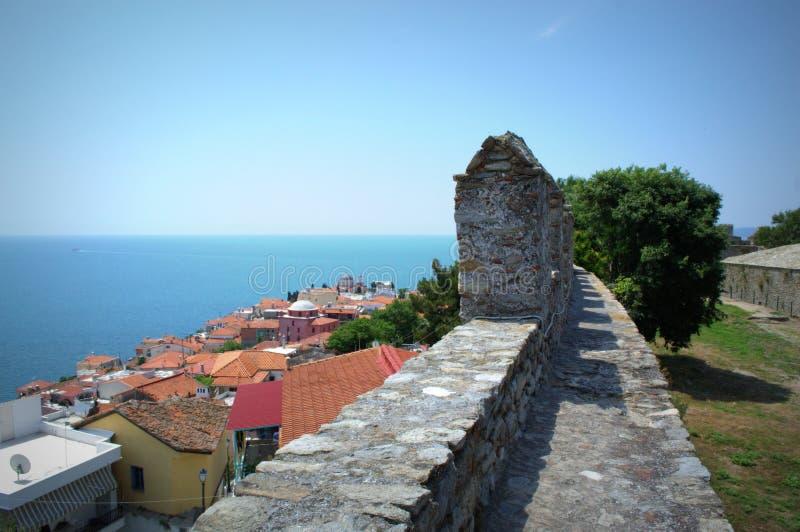 Kavala ściany i Stary miasteczko, Grecja obraz stock