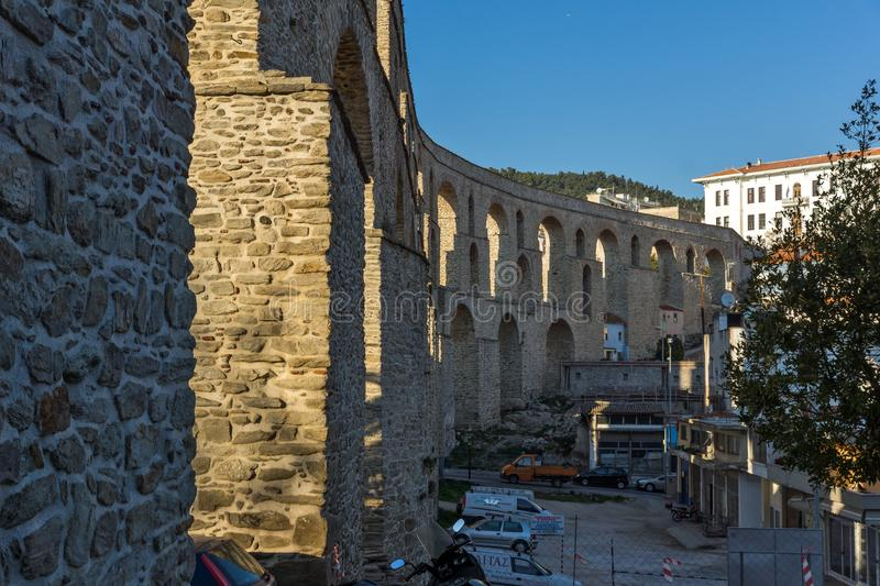 Ruins of medieval aqueduct in Kavala, East Macedonia and Thrace, Greece. KAVALA, GREECE - DECEMBER 27, 2015: Ruins of medieval aqueduct in Kavala, East Macedonia royalty free stock photography