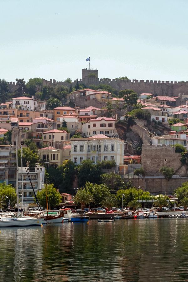 Panoramic view to center of city of Kavala, Greece. KAVALA, GREECE - JUNE 17, 2011: Panoramic view to center of city of Kavala, East Macedonia and Thrace, Greece stock photos