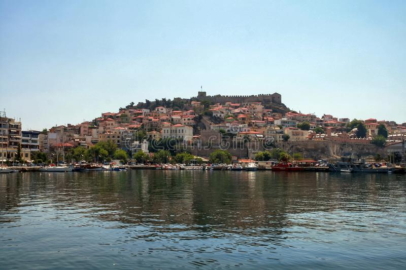 Panoramic view to center of city of Kavala, Greece. KAVALA, GREECE - JUNE 17, 2011: Panoramic view to center of city of Kavala, East Macedonia and Thrace, Greece stock image