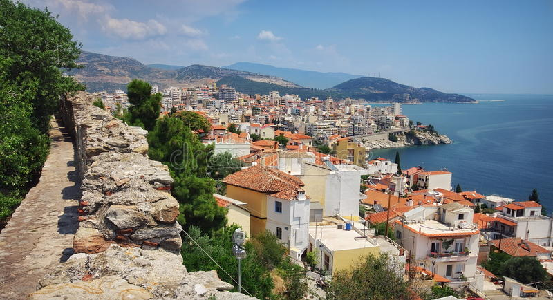 Port city Kavala, landmark attraction in Greece. View over the port city Kavala, landmark attraction in Greece royalty free stock photos