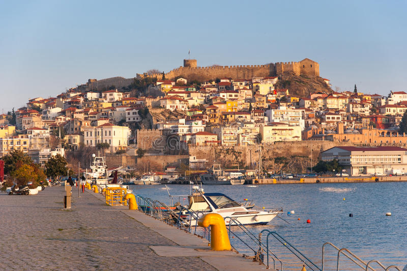Kavala Town Fortress. View of the fortress in Greek Town of Kavala with houses on the hill royalty free stock photos