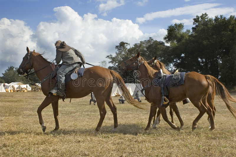 kavalleri dismounts royaltyfria bilder