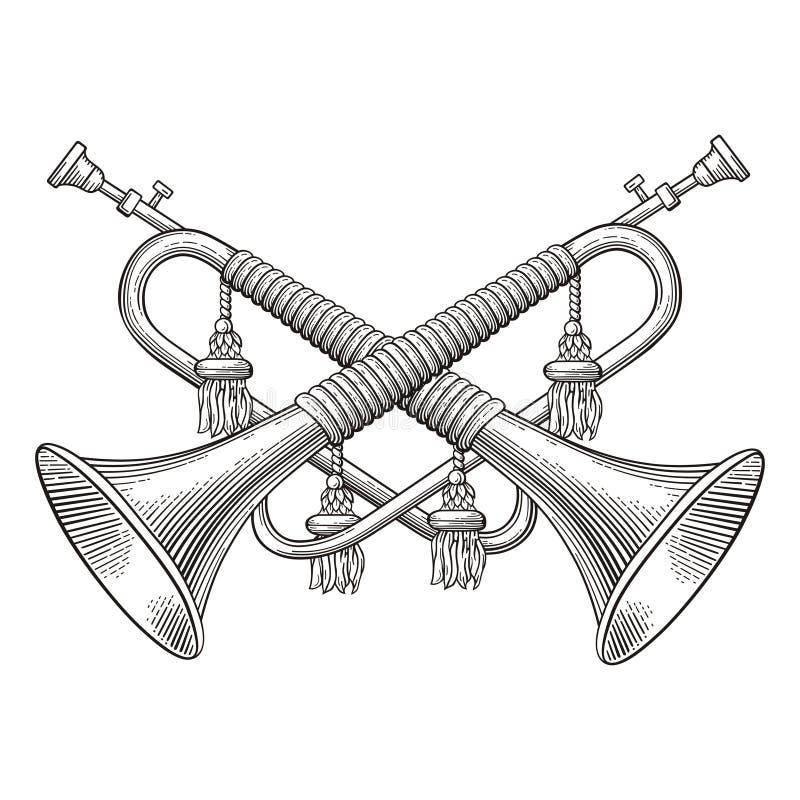 Kavallerie-Hörner stock abbildung