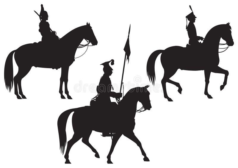 Kavallerie-Pferdenmitfahrer lizenzfreie abbildung