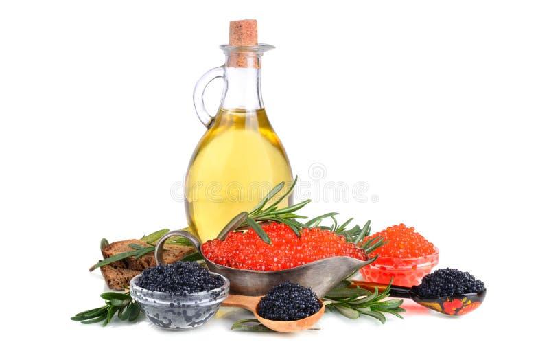 Kaviaar en olijfolie royalty-vrije stock afbeelding