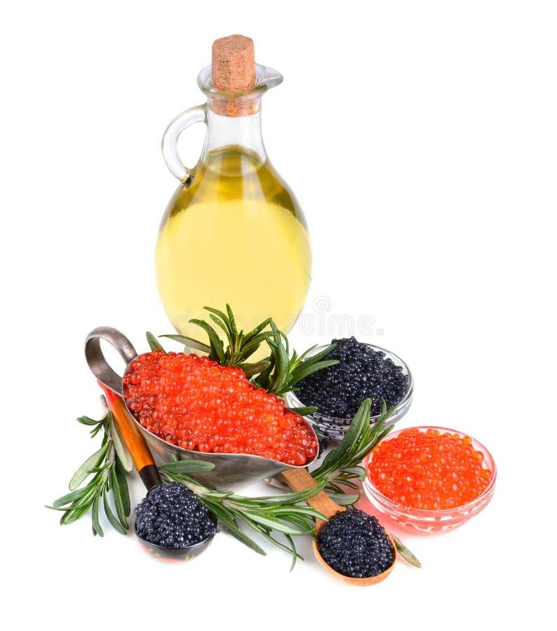 Kaviaar en olijfolie royalty-vrije stock fotografie