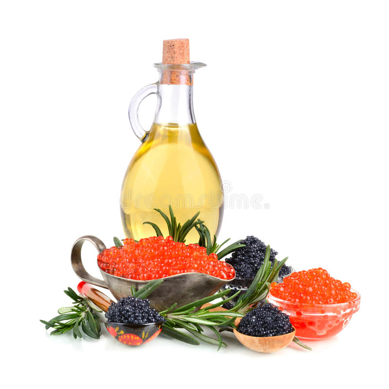Kaviaar met olijfolie stock foto's