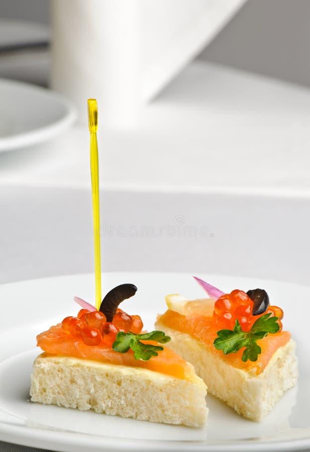 kaviar κόκκινος σολομός κανα& στοκ εικόνες