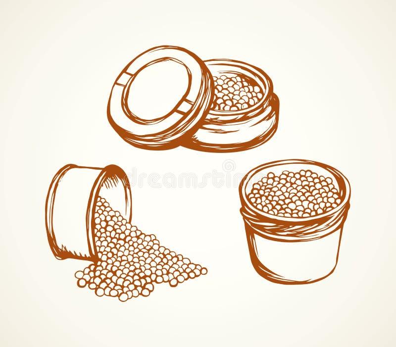 kaviar bakgrund som tecknar den blom- gr?svektorn stock illustrationer