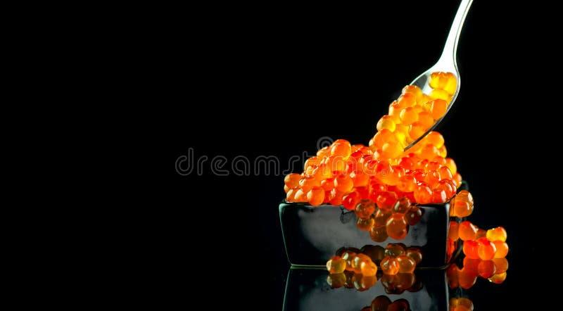 Kaviar i en sked Laxkaviar i en bunke över svart Closeupforellkaviar royaltyfri foto
