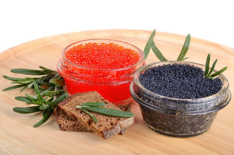 Kaviar mit Brot und Rosmarin lizenzfreies stockfoto