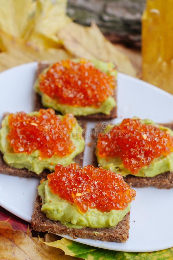 Kaviar- och avokadoaptitretare royaltyfria bilder