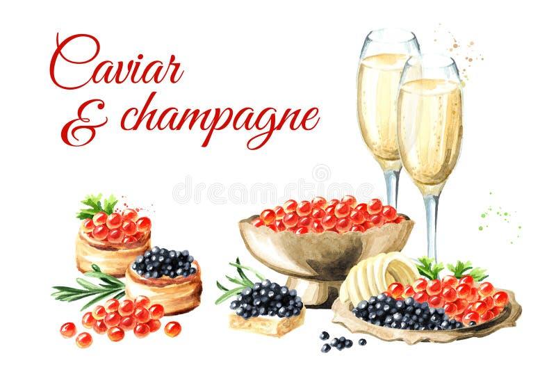 Kaviar- och champagnekort Dragen illustration f?r vattenf?rg som hand isoleras p? vit bakgrund vektor illustrationer