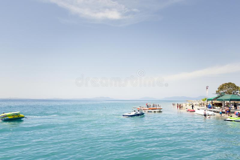 KAVOS,CORFU/GREECE-JUNE 22 2019:Young British holiday makers partying on one of the many ,so called ,booze cruise. Kavos is a popular destination famous for the stock photography