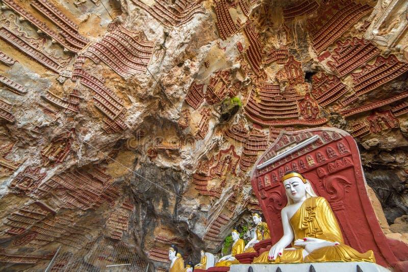 Kaw在Hpa-An附近的笨蛋洞在缅甸 库存图片
