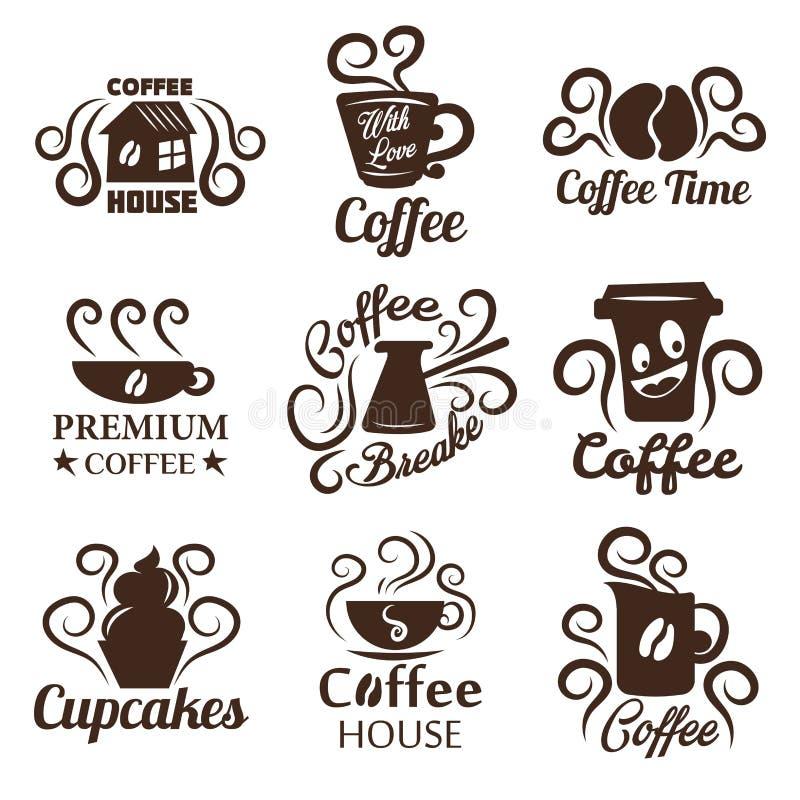 Kaw dom odizolowywać ikony piją ciasto babeczkę i przekąszają ilustracji