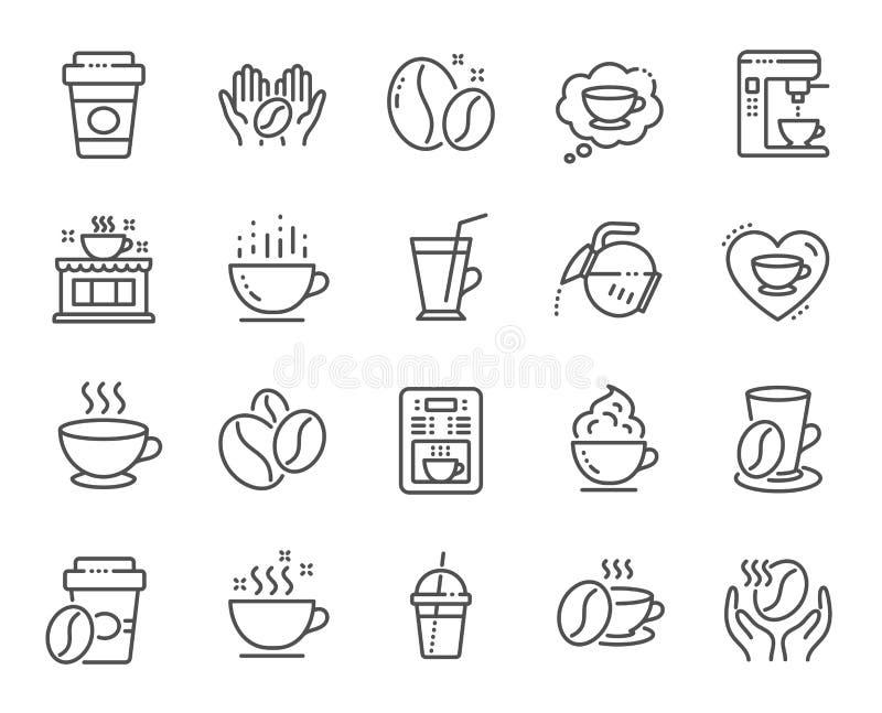 Kaw kreskowe ikony Fasole, gorący koktajl i kawowego producenta maszyna, wektor ilustracja wektor
