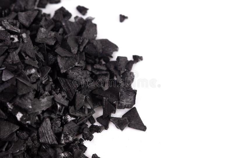 Kawałki Aktywowany węgiel drzewny Cudowna substancja z Wiele Bajecznie Używa obrazy stock