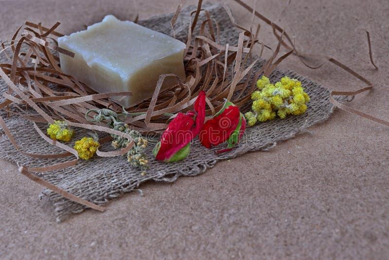 Kawałek biały fragrant handmade mydło obraz stock
