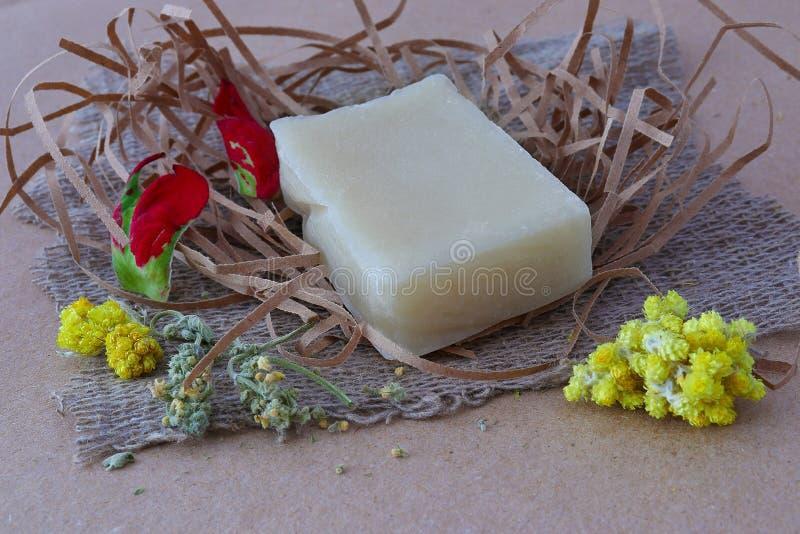 Kawałek biały fragrant handmade mydło obrazy royalty free