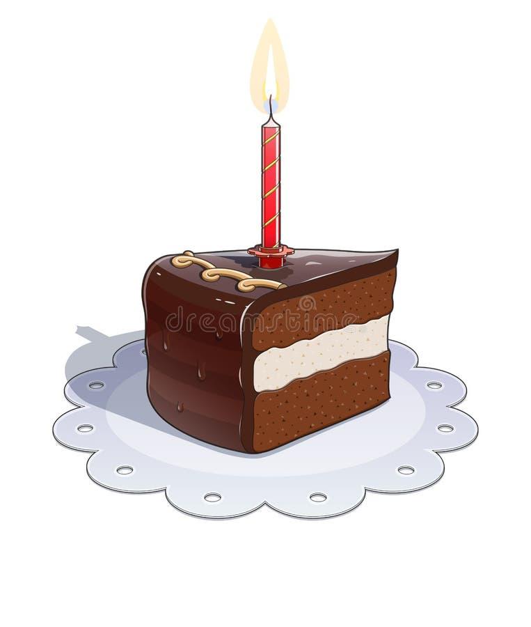 Kawałek czekoladowy tort z świeczką ilustracja wektor