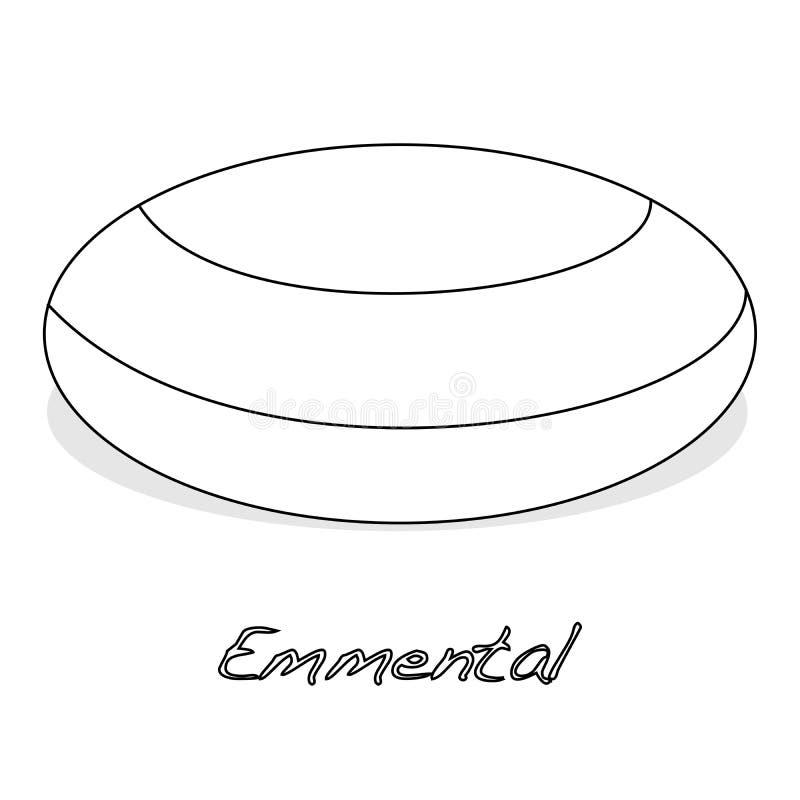 Kawałek emmental ser na białym tle Nabiał, a ilustracja wektor