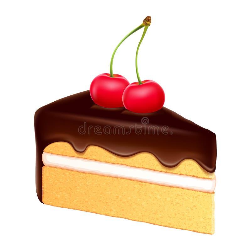 Kawałek gąbka tort ilustracji