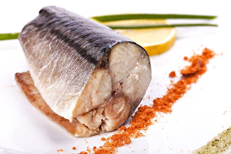 Kawałek makrela z cytryną obraz royalty free