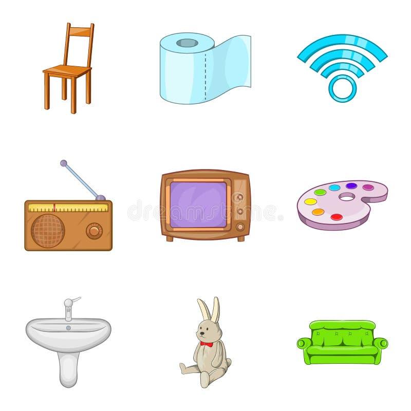 Kawałek meble ikony ustawiać, kreskówka styl ilustracja wektor