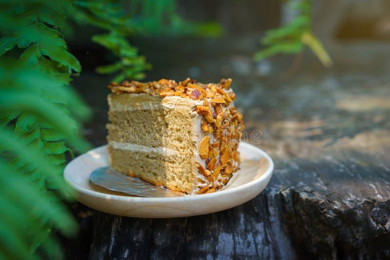 Kawałek mocca migdału tort na drewno talerzu z zielenią opuszcza backg zdjęcia royalty free