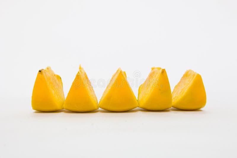 Kawałek Persimmon na białym tle zdjęcia royalty free