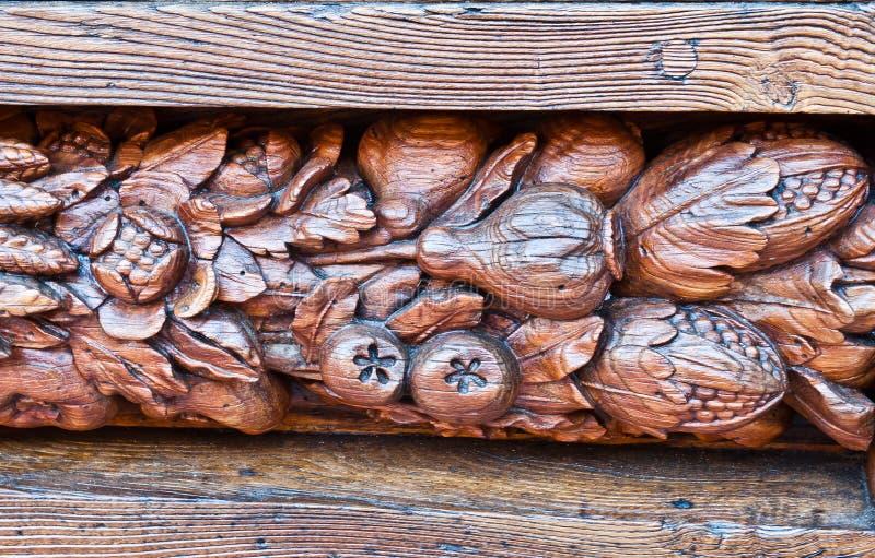 Kawałek rzeźbiąca drewniana brama Santa Croce Florencja fotografia royalty free