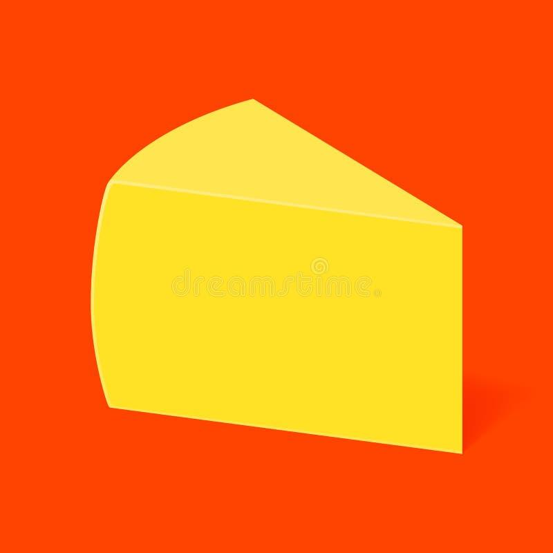 Kawałek ser na czerwonym tle ilustracja wektor