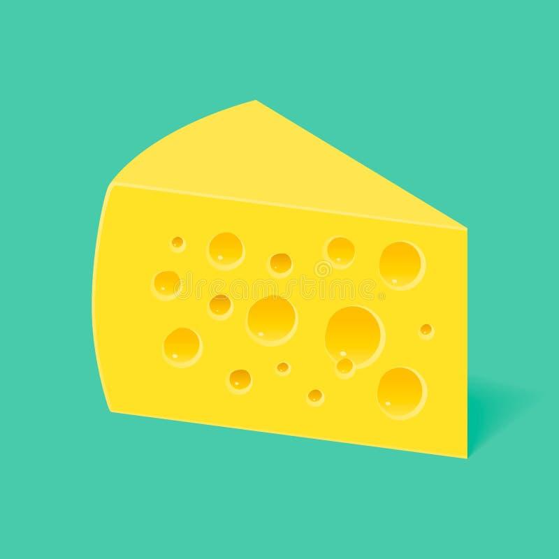 Kawałek ser z dziurami na błękitnym tle ilustracja wektor