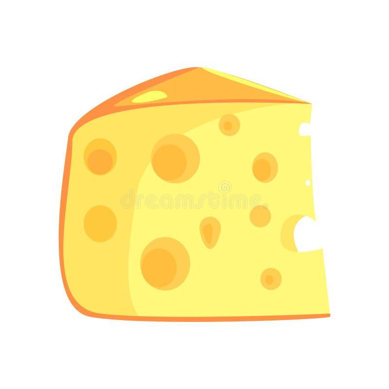 Kawałek Szwajcarski ser, produktu spożywczego bogactwo W proteinach, ważny element Zdrowa Zrównoważona dieta wektoru ilustracja ilustracji