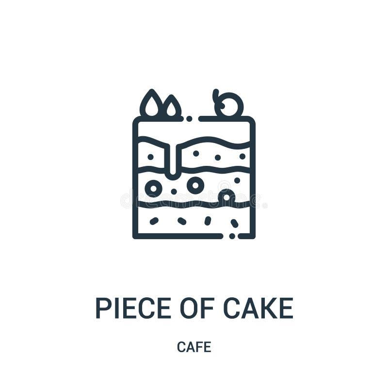 kawałek tort ikony wektor od cukiernianej kolekcji Cienki kreskowy kawałek torta konturu ikony wektoru ilustracja Liniowy symbol ilustracja wektor