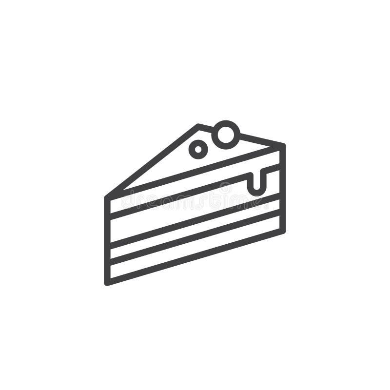 Kawałek tort linii ikona royalty ilustracja