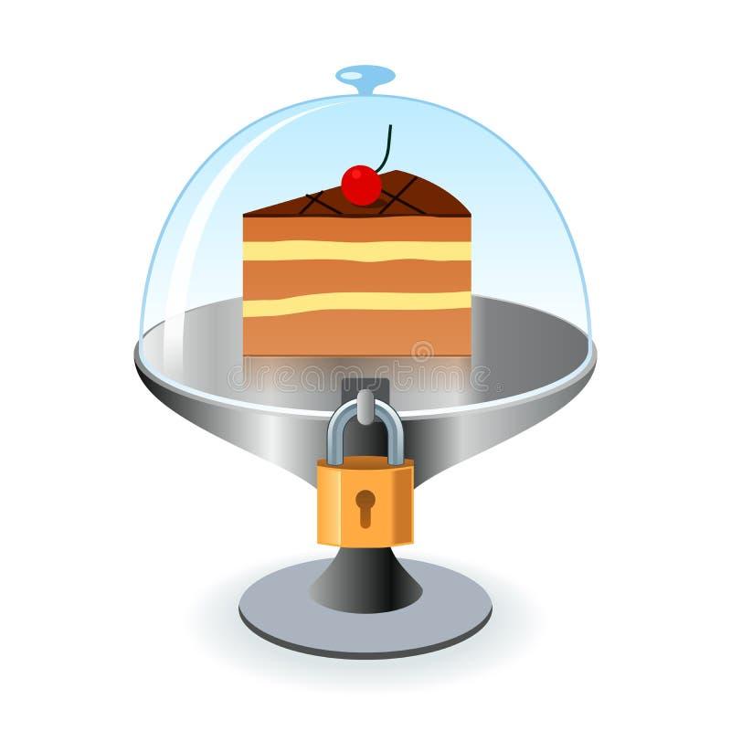 Kawałek tort pod kędziorkiem i kluczem royalty ilustracja