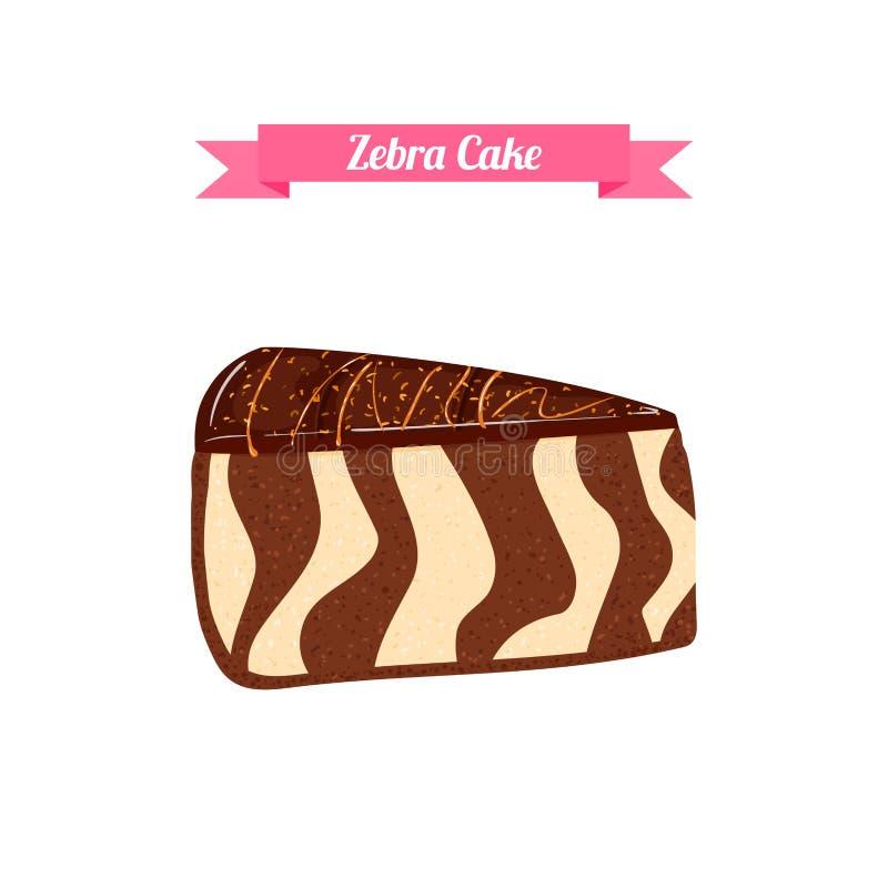Kawałek tort Wektor pokrajać porcja chocolatel paskujący zebra tort ilustracji