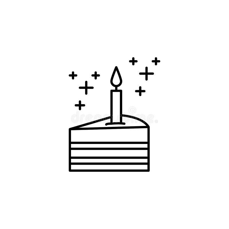 kawałek tort z świeczki ikoną Element nowego roku konturu oarty ikona Cienka kreskowa ikona dla strona internetowa projekta i roz royalty ilustracja