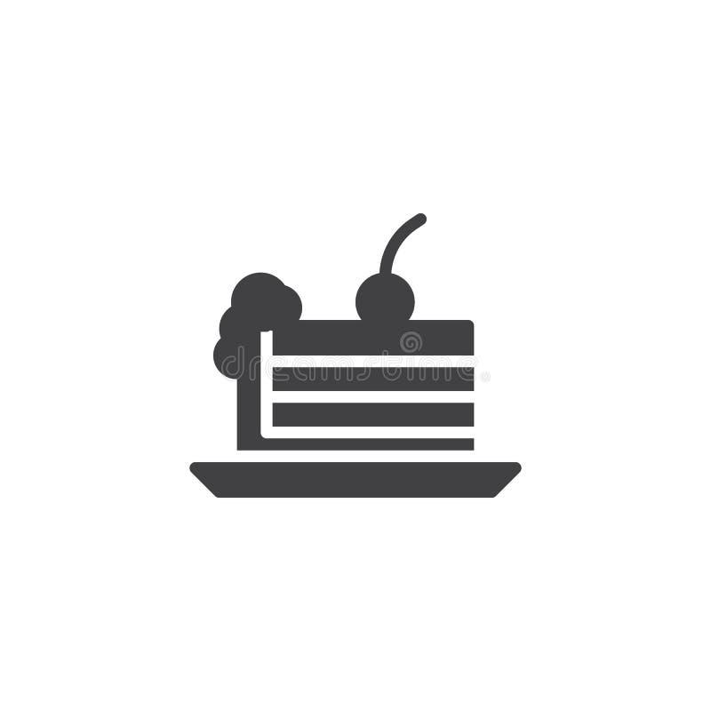 Kawałek tort z czereśniową wektorową ikoną royalty ilustracja