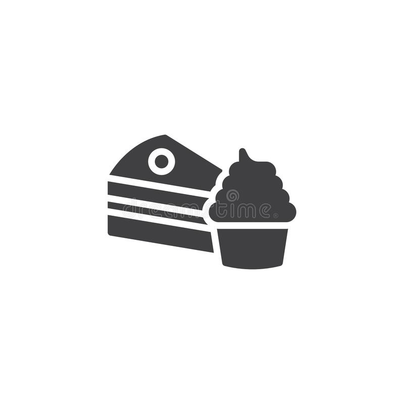 Kawałek torta i babeczki wektoru ikona ilustracja wektor