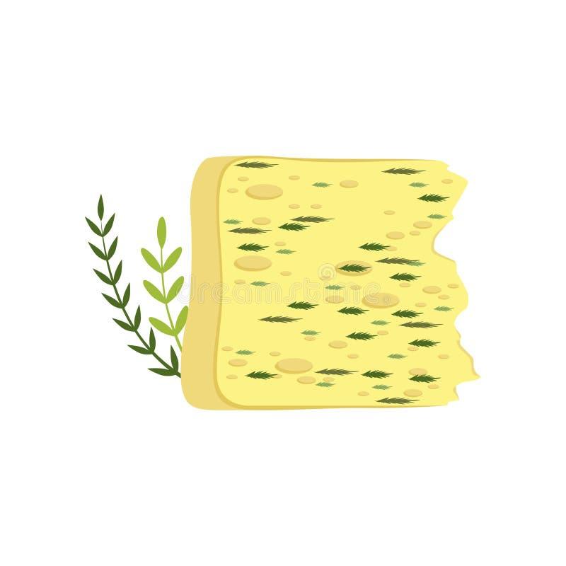 Kawałek tradycyjny Gouda ser z zielonymi ziele Nabiału organicznie produkt Wyśmienicie i zdrowy jedzenie Płaski wektor ilustracja wektor