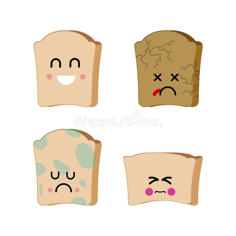 Kawałek ustawiający emoji chleb Smutny chleb z foremką Suszę psuł fo ilustracji