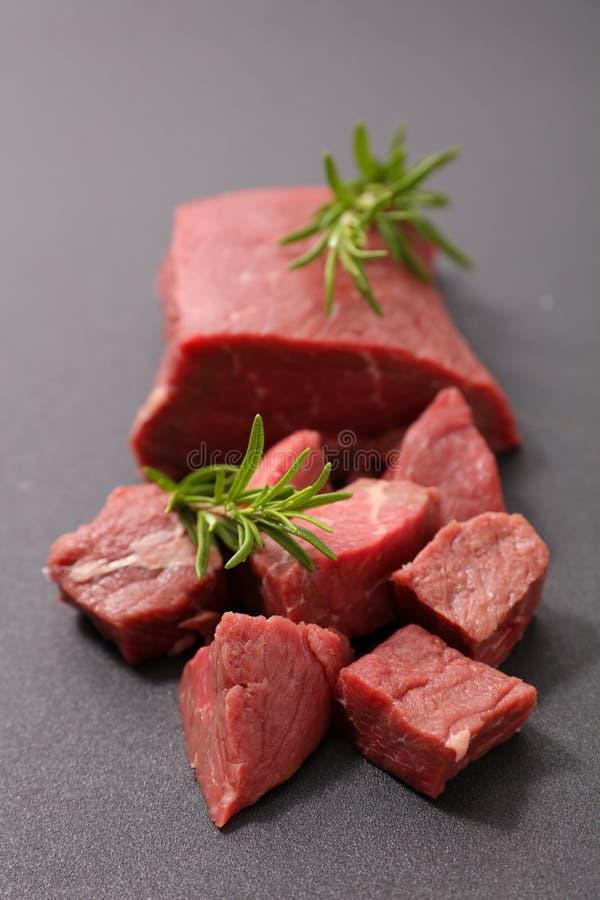 Kawałek wołowina, surowy mięso fotografia royalty free