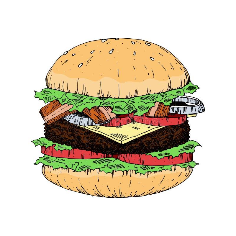 Kawałek Yummy hamburger, rocznika spojrzenia ręki remisu stylu hamburger royalty ilustracja