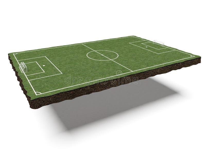 Kawałek ziemi z boiskiem piłkarskim ilustracji